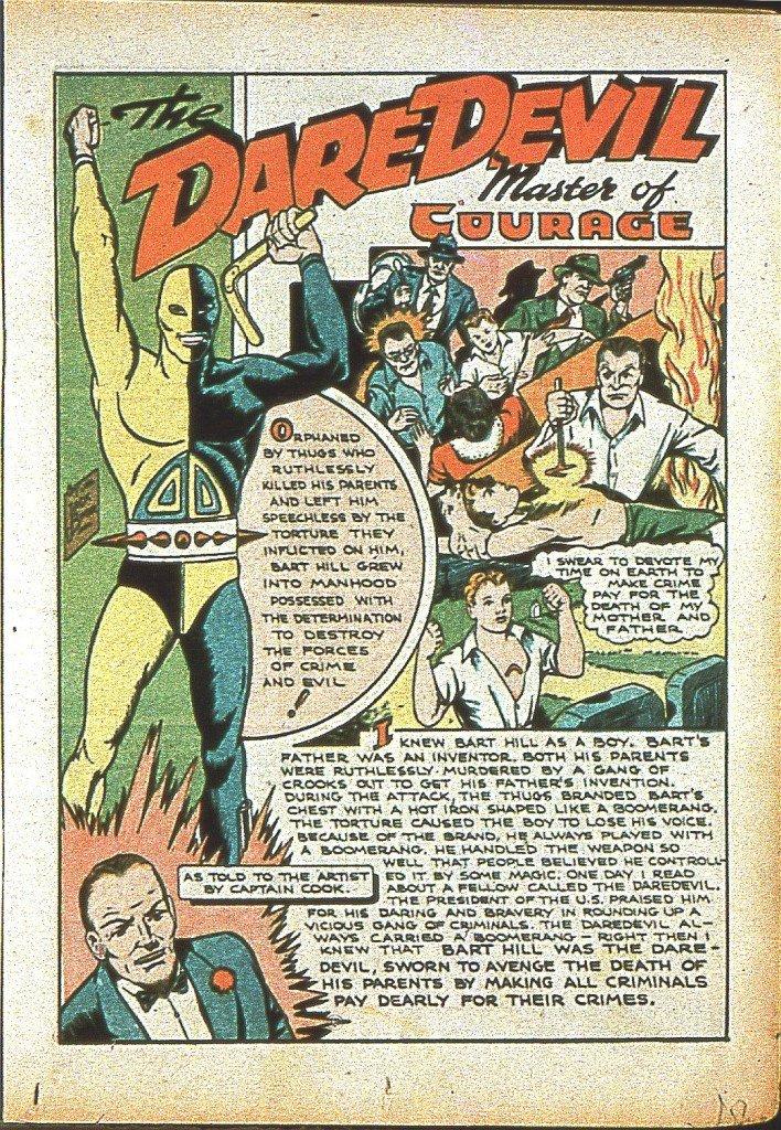 Première aventure de Daredevil alias Bart Hill Silver Streak #6 – septembre 1940