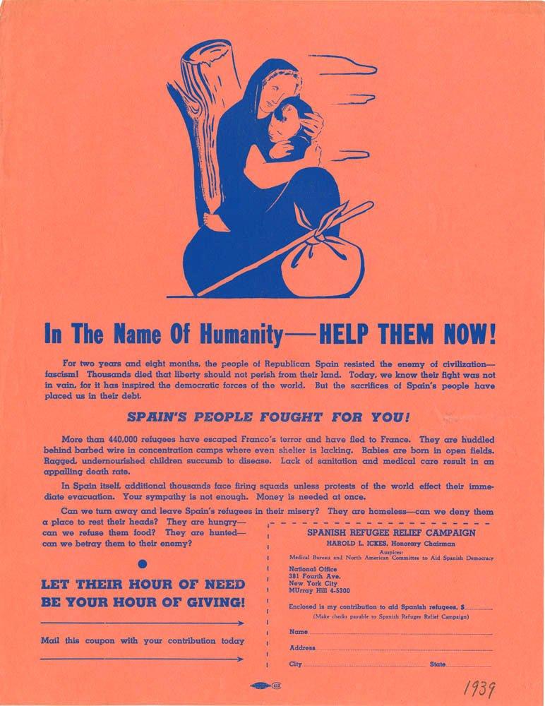 Souscription pour l'aide aux réfugiés espagnoles - 1939